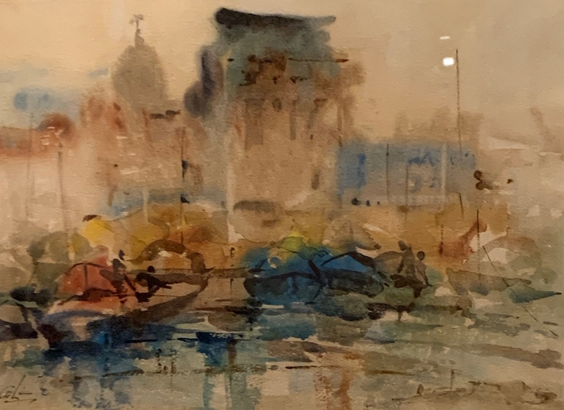 Lim Cheng Hoe. Watercolour. Misty Morn at Singapore River