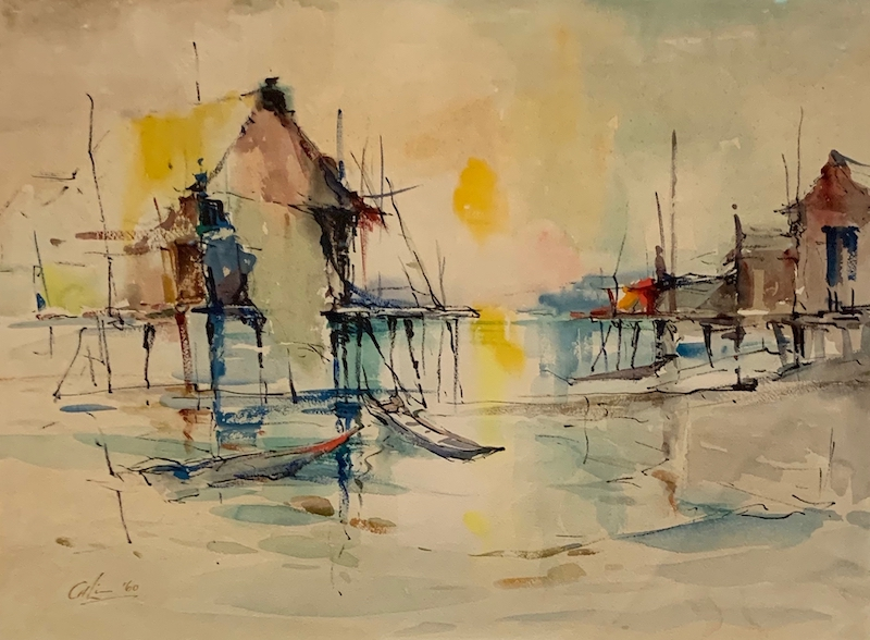 Lim Cheng Hoe. Watercolour. Nocturne