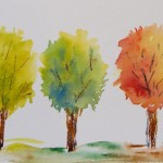 Spring, Summer, Autumn (watercolour painting 15 x 10 cm)