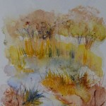 Watercolour landscape: Autumn River (watercolour 10 x 15cm)