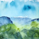 Watercolour Landscape: Verdant Peak (watercolour 15 x 10 cm)