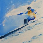 Snow Sport painting: Snow Surfing (watercolour 28 x 38cm)