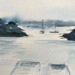 Boats at Sunset - painting Paxos watercolours