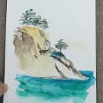 Watercolour Sketchbook 5 - Sailing past the rocks. Trees perched on top.
